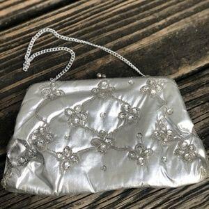 Vtg Bon Soir Bead Sequin Purse Metallic Fabric
